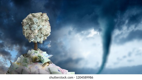 conceptual image of money tree in money pile over storm sky and approaching tornado