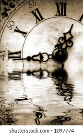Conceptual image old antique looking clock with reflection in water suggesting reflecting back or nostalgic thoughts