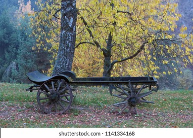 Conceptual image of the old farm carriage under an autumn trees