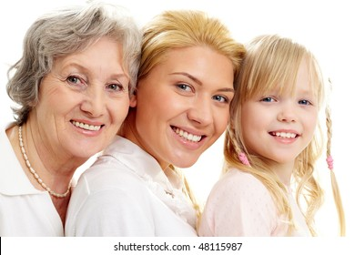 Conceptual image of old lady, young woman and girl