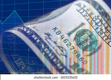 conceptual image on stock exchange, detail of 100 dollar bill in the background with graphs and bars - Shutterstock ID 1819235633
