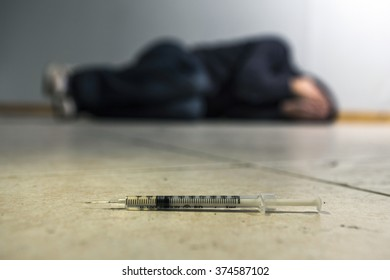 Conceptual image on the subject of drug addiction