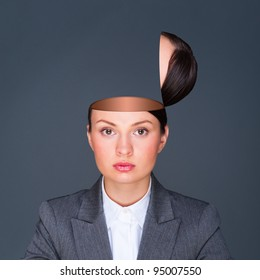 Conceptual image of an open minded business woman