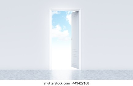 Conceptual image of open white door with sky view in concrete room interior with copy space. 3D Rendering