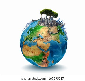 Conceptual image of planet Earth. Ecology concept. Elements of this image are furnished by NASA