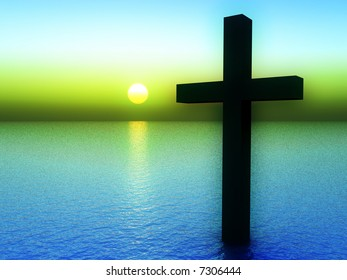 A conceptual image of the religious symbolic cross, in the water with a sunset or sunrise background.