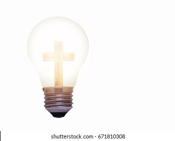 conceptual image of retro vintage light bulb  with wooden cross and light effect  isolated on white background with copy space, christian background that show Jesus is the light of the world