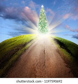 conceptual image of road and decorated shiny Christmas tree over cloudy sky with beam of light