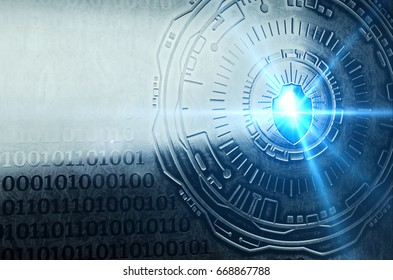 A conceptual image with a shield icon representing cybersecurity