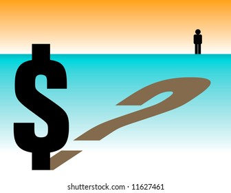 Conceptual image showing a dollar symbol with question mark shadow and a small person in the background.