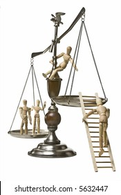 Conceptual image for the struggle for equal rights.  Scales of justice with mannequins climbing onto the scales.  Two on one side, 1 climbing a ladder onto the near side, and 1 perched on the scale