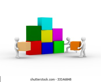 Conceptual image of teamwork. Isolated 3D image