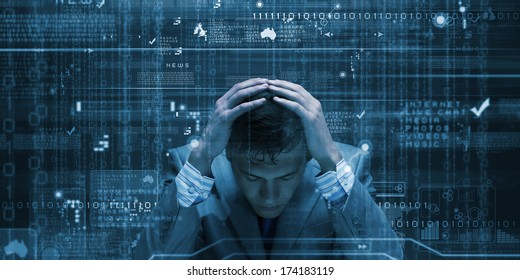 Conceptual image of troubled man against media screen with binary code