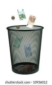 conceptual image of trowing money away