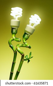 Conceptual image of two economic lamps as flowers on top of green canes