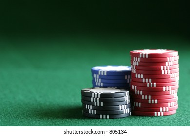 Conceptual image with a variety of uses in any area where the chips may be stacked against you.