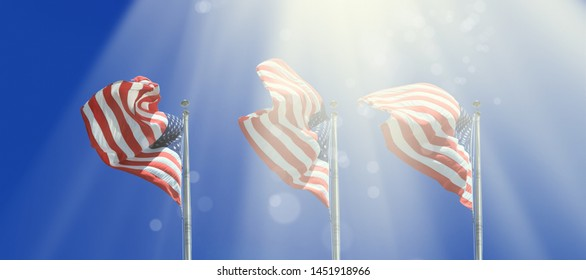 Conceptual image of waving American flags in a row over abstract lights