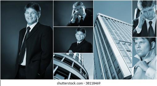 Conceptual image-grid of business photos. Llife businessman