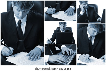 Conceptual image-grid of business photos. Office life.
