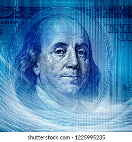 Conceptual internet business image of binary code tecnology with money