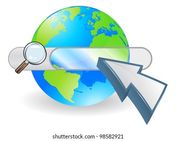 Conceptual internet illustration with search bar over world globe and arrow cursor