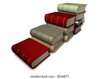 A conceptual ladder of books on white background - 3d render