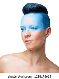 Conceptual makeup. Beauty portrait of a young woman isolated on white background. Short blue hair, unused hairstyle