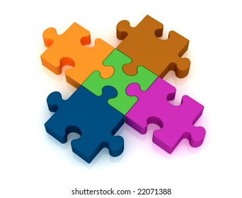conceptual for many use - perfect connection of a colored puzzle