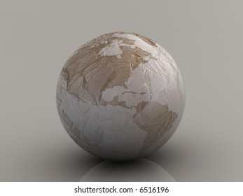Conceptual maped with continents Earth planet - rumpled paper texture - 3d render