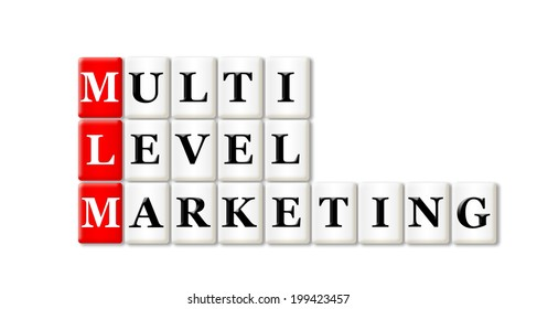 Conceptual MLM Multi Level Marketing acronym on white