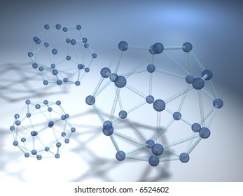 Conceptual model of three molecular structure - rendered in 3d