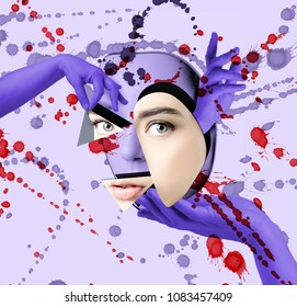 Conceptual modern poster: plastic surgery of the face.