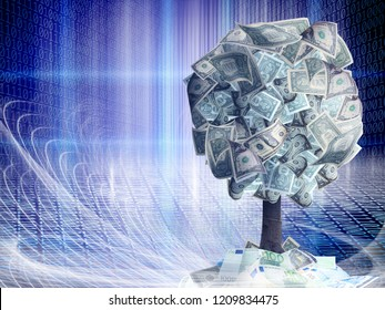 Conceptual money tree with dollar bills in abstract structural lights with binary code