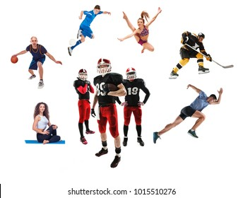 The conceptual multi sports collage with american football, hockey, soccer, jogging, artistic gymnastics, basketball, yoga, Pilates sports isolated on white background
