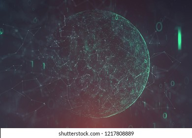 Conceptual network data cyberspace with sphere, lines, dots and binary numbers illustration background. View from space. Selective focus used.