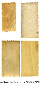 Conceptual old vintage dirty or grungy paper background set or collection isolated on white background for antique, grunge, texture, retro, aged, ancient, dirty, frame, manuscript or material designs
