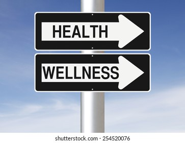 Conceptual one way signs on Health and Wellness
