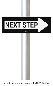 Conceptual one way street sign on next steps