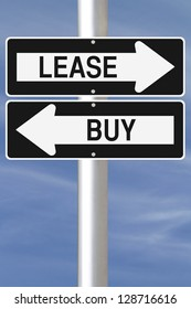 Conceptual one way street sign on leasing or buying options