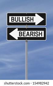 Conceptual one way street signs on bullish or bearish markets