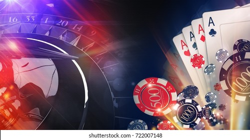 Conceptual Online Casino Gambling Illustration. 3D Rendered Image. Blackjack Cards, Casino Chips and Roulette Wheel.