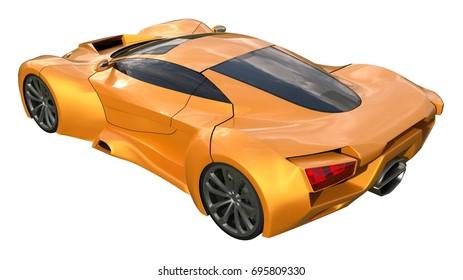 Conceptual orange racing cars. 3d illustration