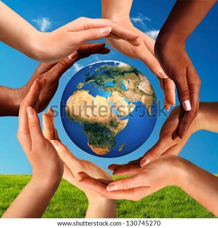 Conceptual Peace Cultural Diversity Symbol Multiracial Stock Photo