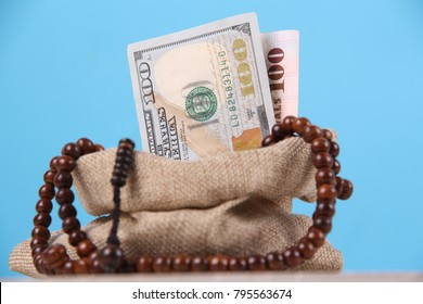 Conceptual photo for Islamic financial and economy in blue background.