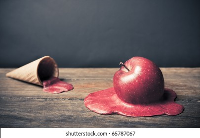 conceptual photo of a melting apple