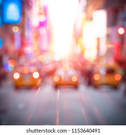 conceptual photo of Times Square in New York city, USA at sunset.