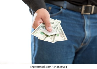 Conceptual photo of young man paying for prostitute service