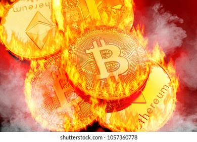 Conceptual picture of cryptocurrency coins bursting into flames, illustrating crypto-currency market crash