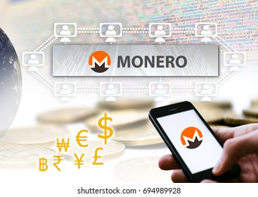 Conceptual picture of  MONERO Coin, a Cryptocurrency blockchain platform