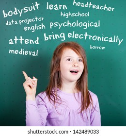 Conceptual portrait of female student learning an English vocabulary
